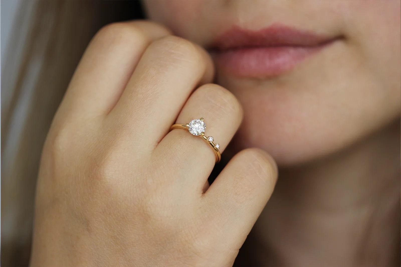 Asymmetrical Engagement Ring  075 Carat Round Diamond