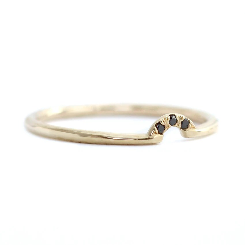 Tiny Curved Band Tiny Black Diamonds Crown Ring Artemer