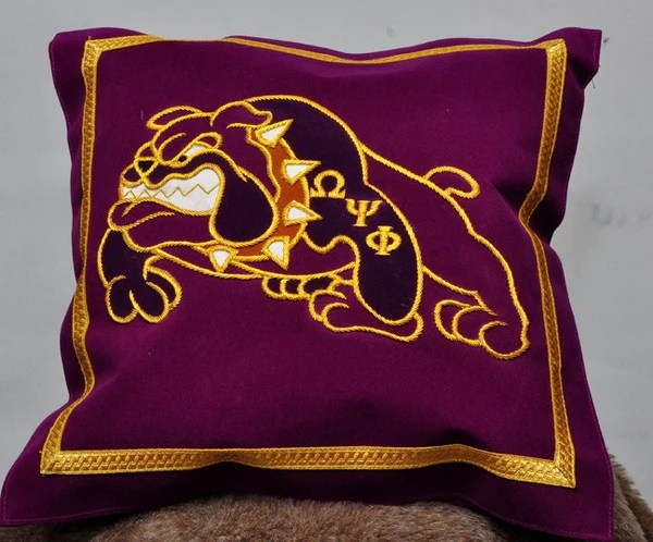 Omega Psi Phi Bulldog Pillow  Greek Traditions