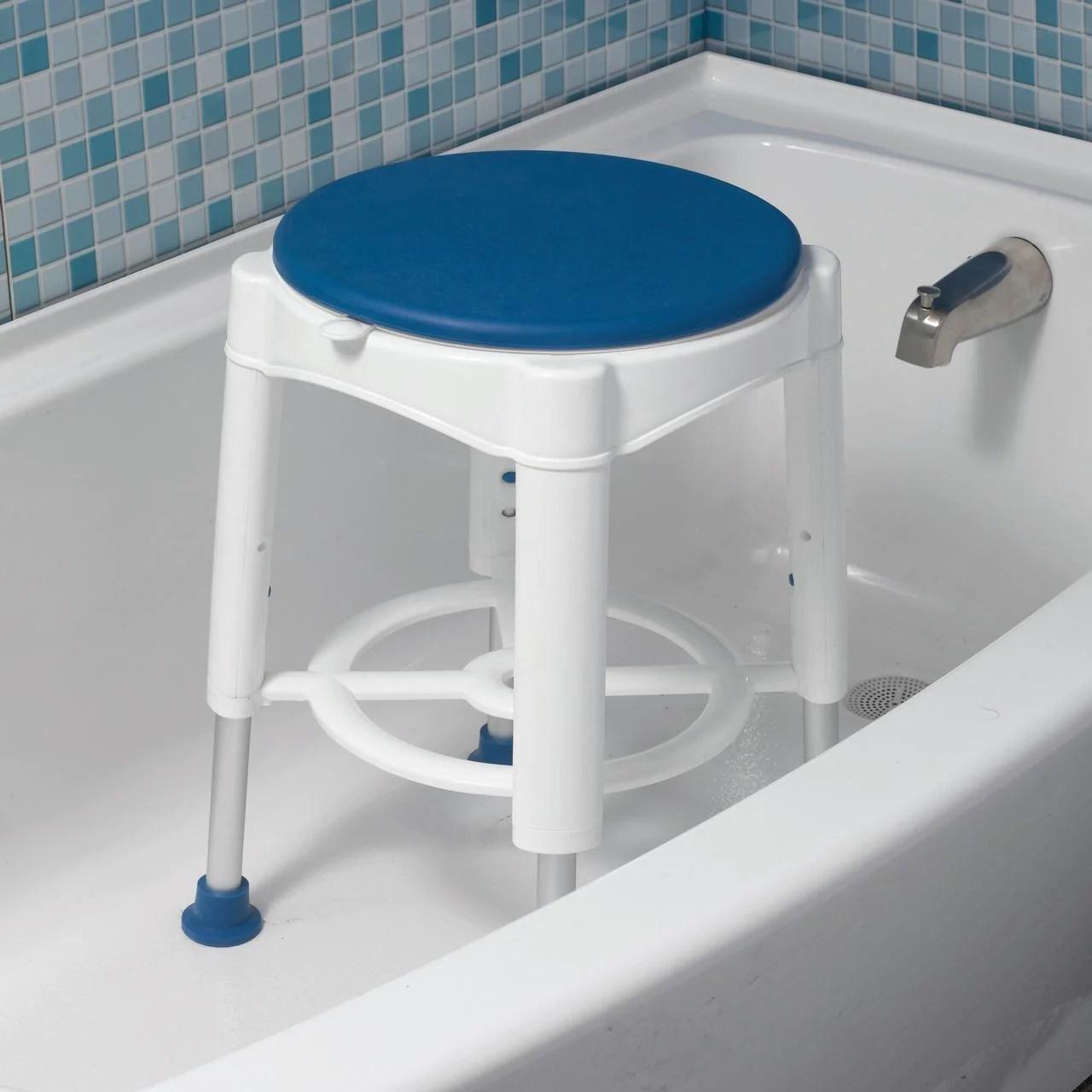 tabouret pour baignoire avec assise pivotante rembourree