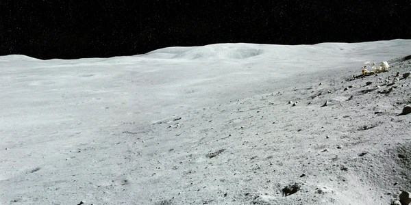 lunar landscape with stuck rover