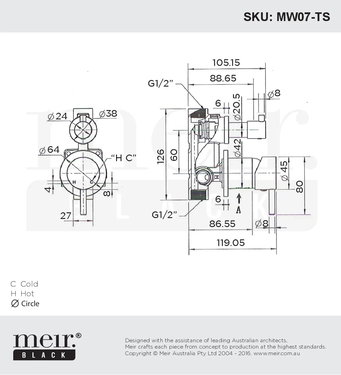hight resolution of  meir round matte black wall mixer with diverter line drawing