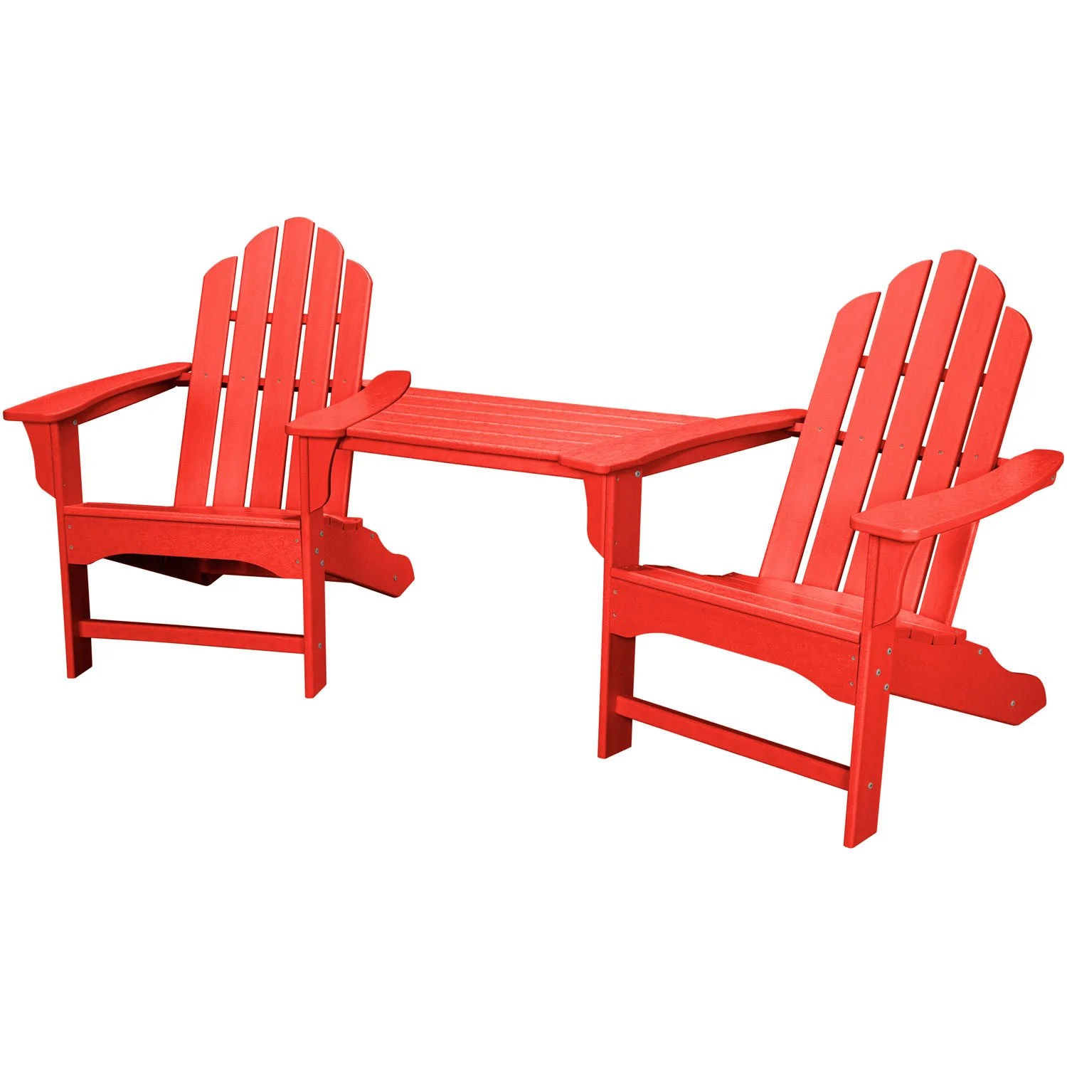 Red Adirondack Chairs Hanover All Weather Rio 3pc Tete A Tete 2 Adirondack Chairs Tete A Tete Table Rio3pc Sr Sunset Red
