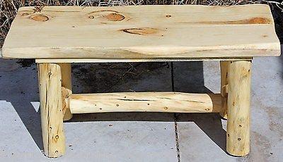 rustic log bench cabin