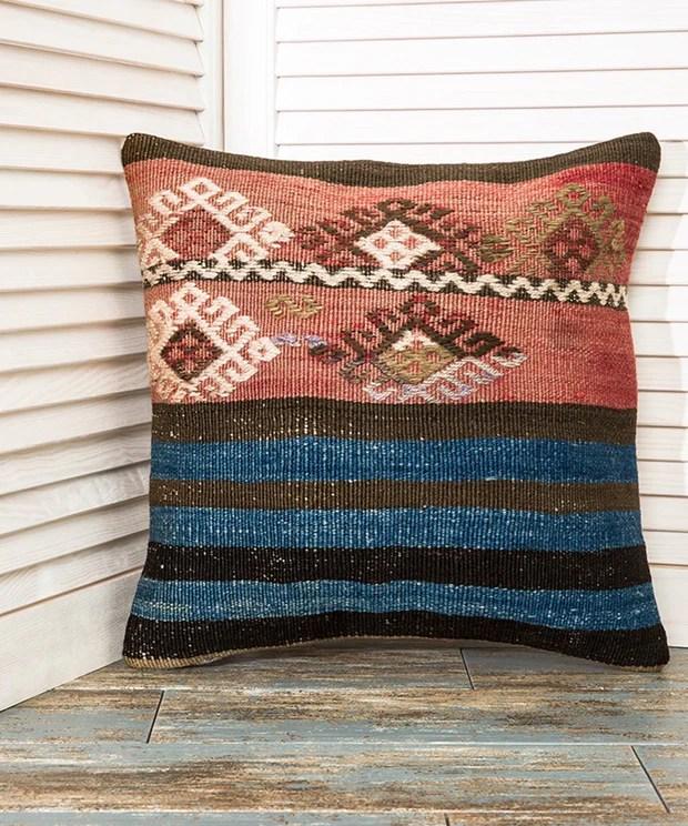 blue throw kilim pillow