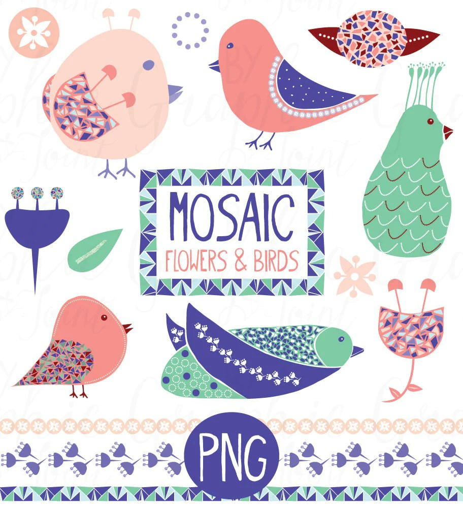 flower birds clipart mosaic graphics web icons photoshop brush graphicjoint [ 912 x 1000 Pixel ]