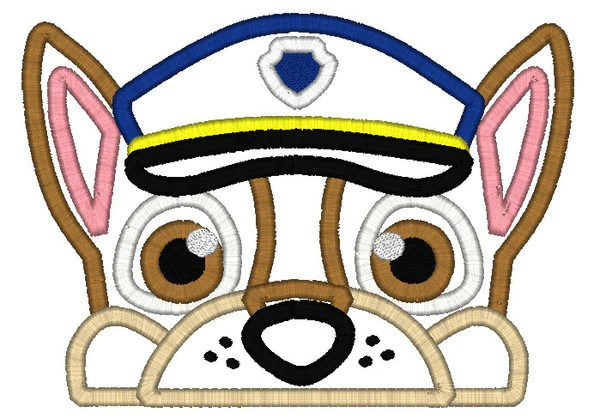 5x7 CHASE PAW PATROL DOG HEAD FOR HOODED TOWEL  OFNAH