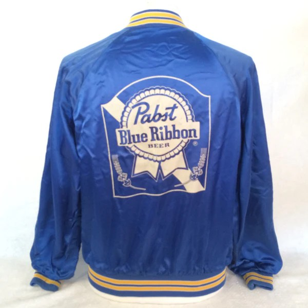 Vintage Pabst Blue Ribbon Beer Satin Jacket Bar Closet