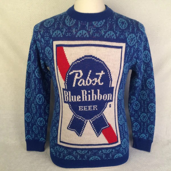Vintage Pabst Blue Ribbon Beer Sweater  Bar Closet