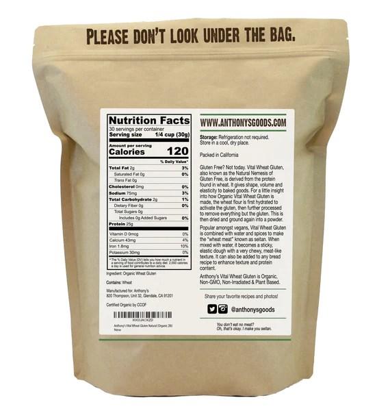 Vital Wheat Gluten: Organic & Non-GMO – Anthony's Goods