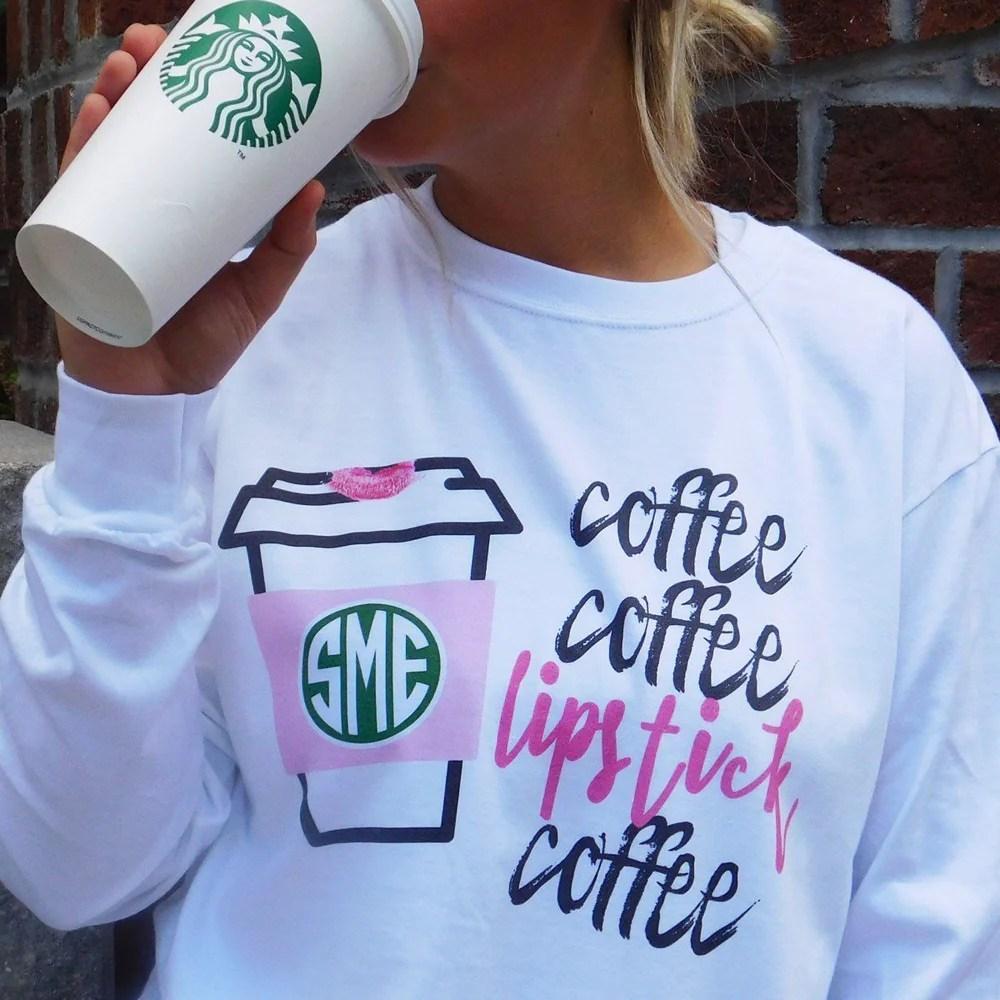 monogrammed coffee lipstick long