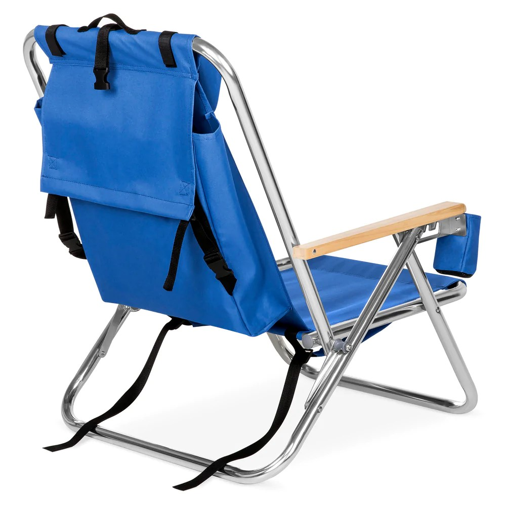 Folding Chair Backpack Folding Seat Backpack Chair W Padded Headrest Cup Holder Blue