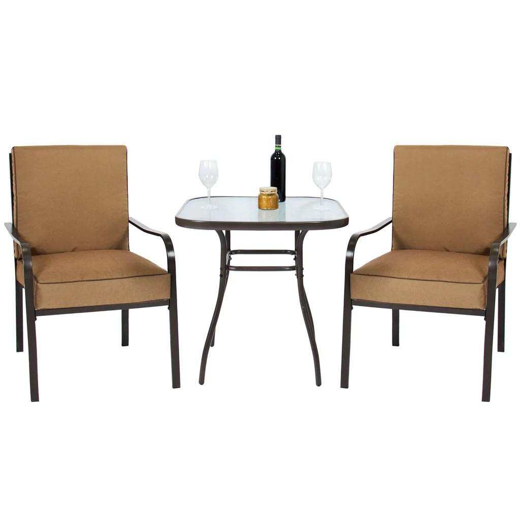 3 piece outdoor table and chairs dining chair covers home depot patio bistro set w glass top 2