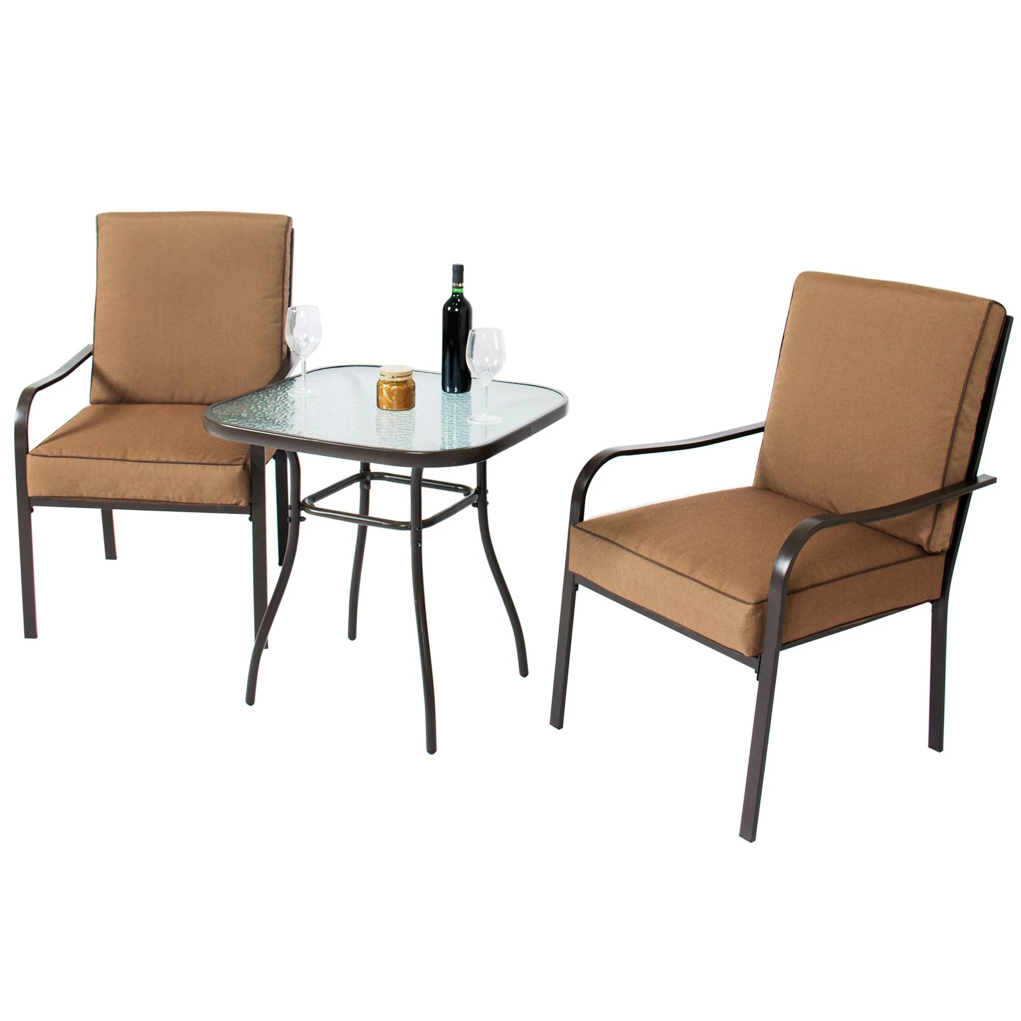 2 chairs and table patio set director chair covers diy 3 piece bistro w glass top
