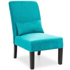 Teal Accent Chair Large Size Office Chairs Fabric Armless W Lumbar Pillow Best Choice