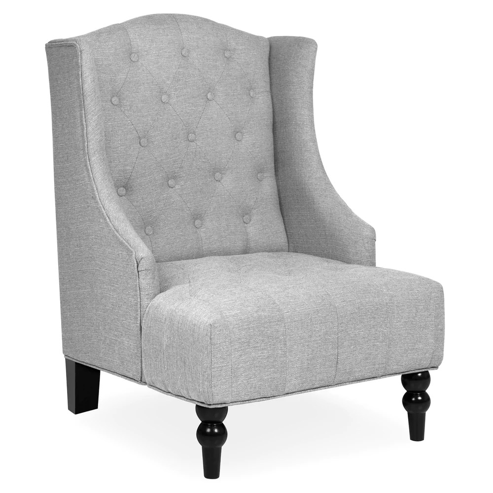 tufted accent chairs chair lift for sale tall wingback gray best choice products