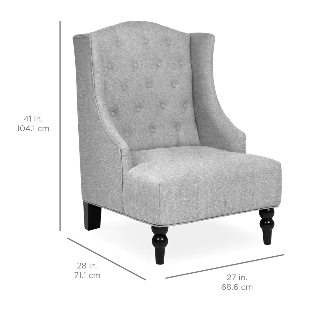 accent wingback chairs carp chair accessories tall tufted gray  best choice