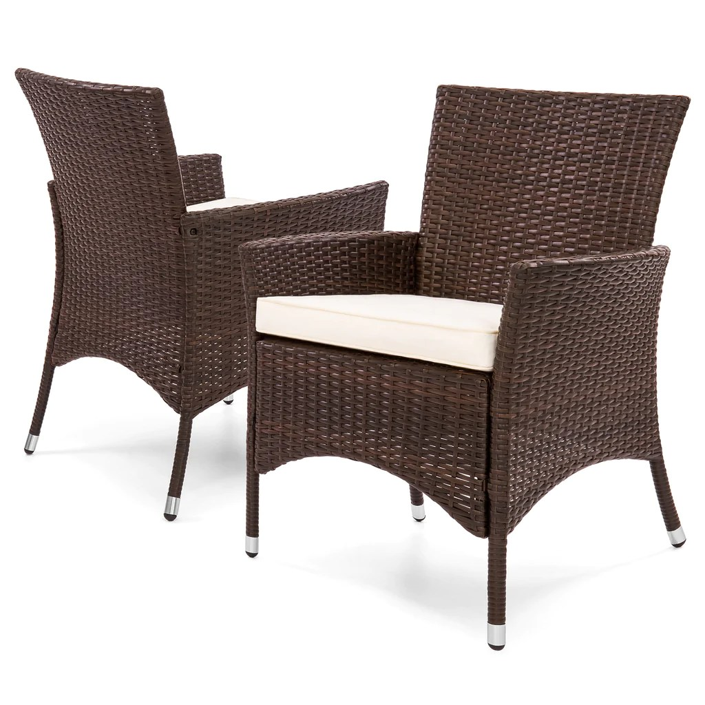 Outdoor Wicker Dining Chairs Set Of 2 Patio Wicker Dining Chairs Brown