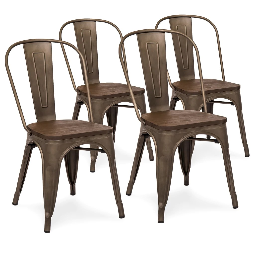 Copper Dining Chairs Set Of 4 Distressed Metal Dining Chairs W Wood Seat Copper Bronze