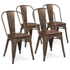 Industrial Metal Chairs Chair Foot Pads Set Of 4 Distressed Dining W Wood Seat Copper Bronze
