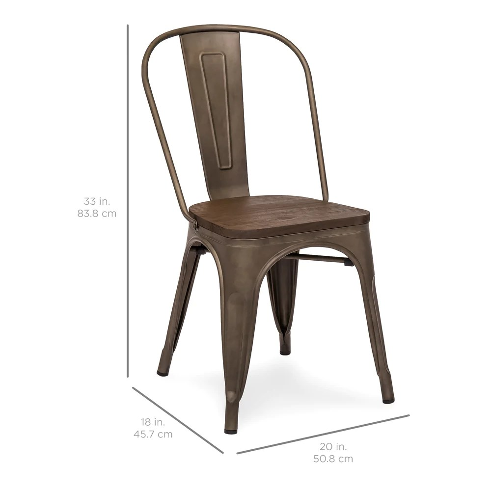 distressed dining chairs best recliner chair for sleeping set of 4 industrial metal w wood seat copper bronze