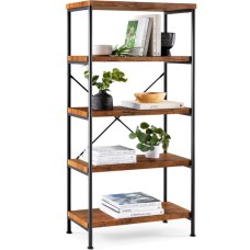 4-Tier Industrial Bookshelf w/ Metal Frame, Wood Shelves