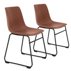 Metal Frame Leather Dining Chair Covers Target Set Of 2 Distressed Faux Chairs W Best