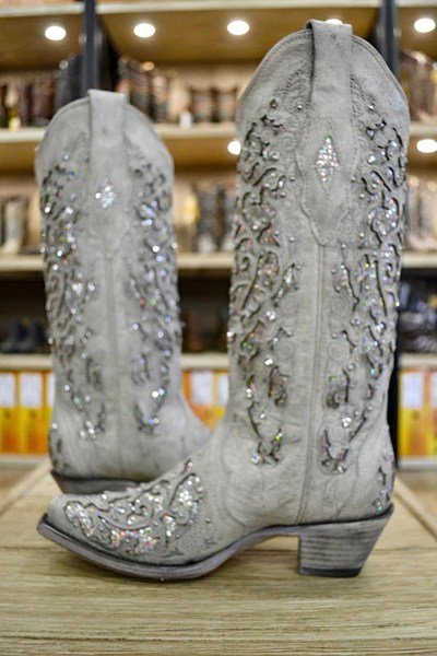 Corral Ladies White Glitter Inlay And Crystals Wedding Boots A3322  Cowboy Boots and Western