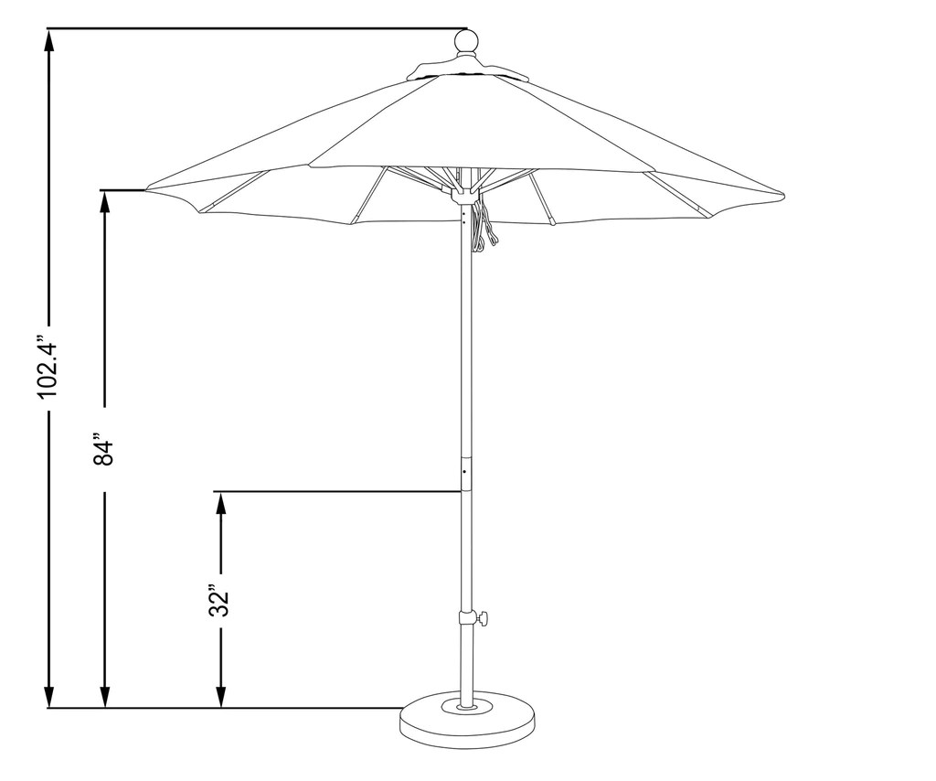7 5 foot sunbrella fabric aluminum pulley lift patio market umbrella