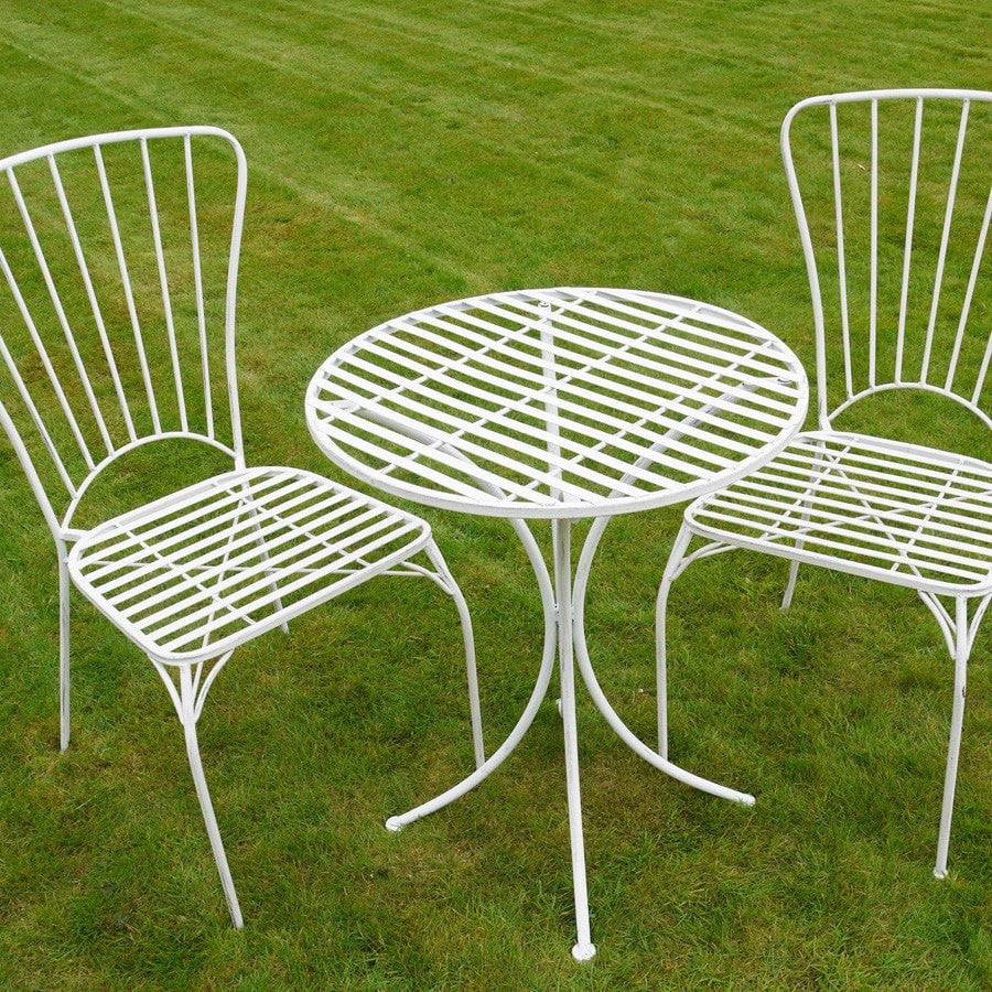 distressed white metal bistro set of table two chairs