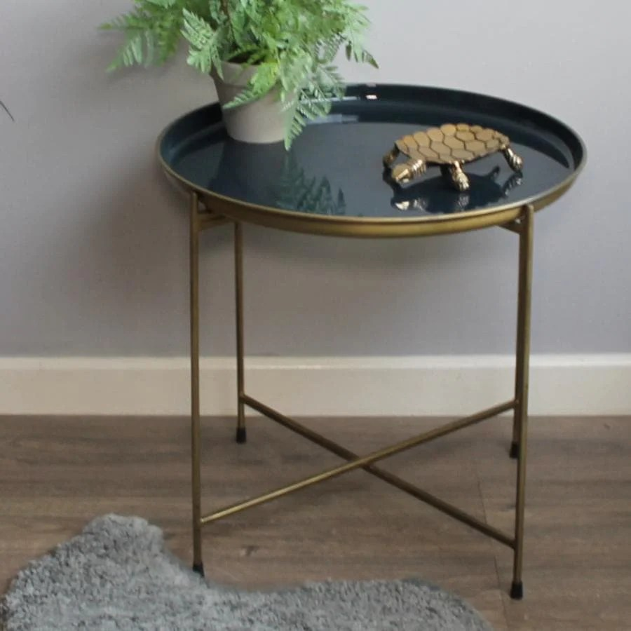 gold and blue tray table