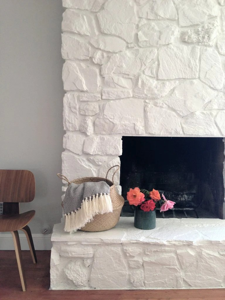 kitchen side sprayer baltimore remodeling how to: painting the stone fireplace white – greige design