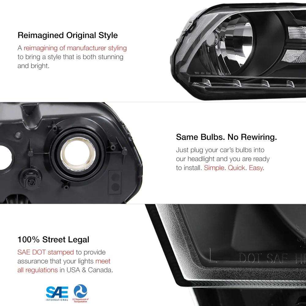 2010 2014 ford mustang black headlight  [ 1000 x 1000 Pixel ]