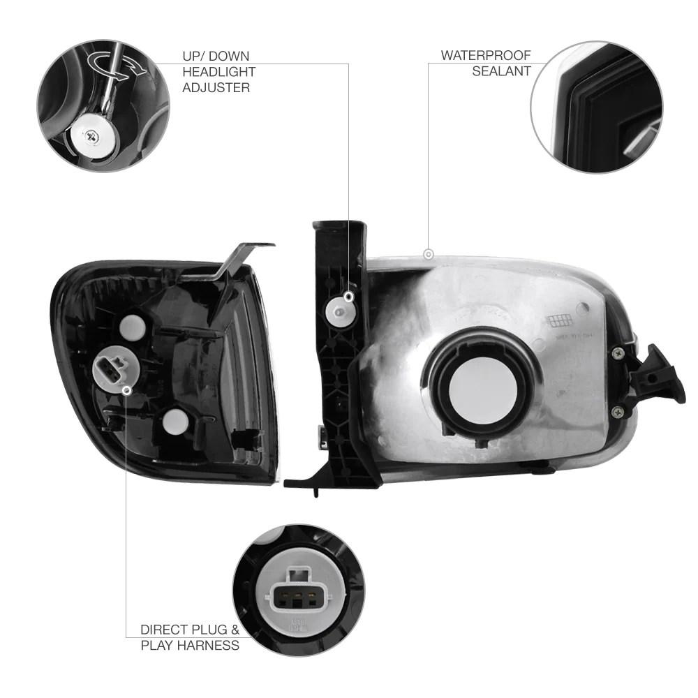 hight resolution of  2000 2004 toyota tundra black headlight