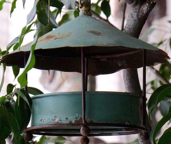 Aged Metal Hanging Bird FeederCovered Platform Style