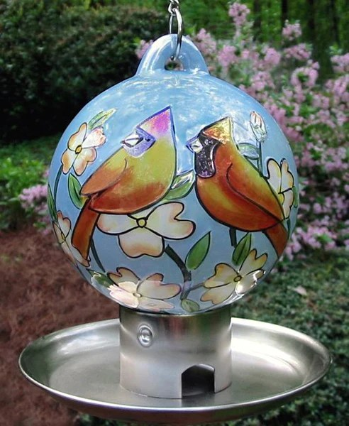 Ceramic Globe Feeder with Tray Cardinal Pair  The