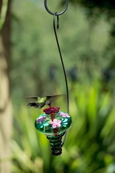 Hand Painted Glass Hummingbird Feeder Unique Humming