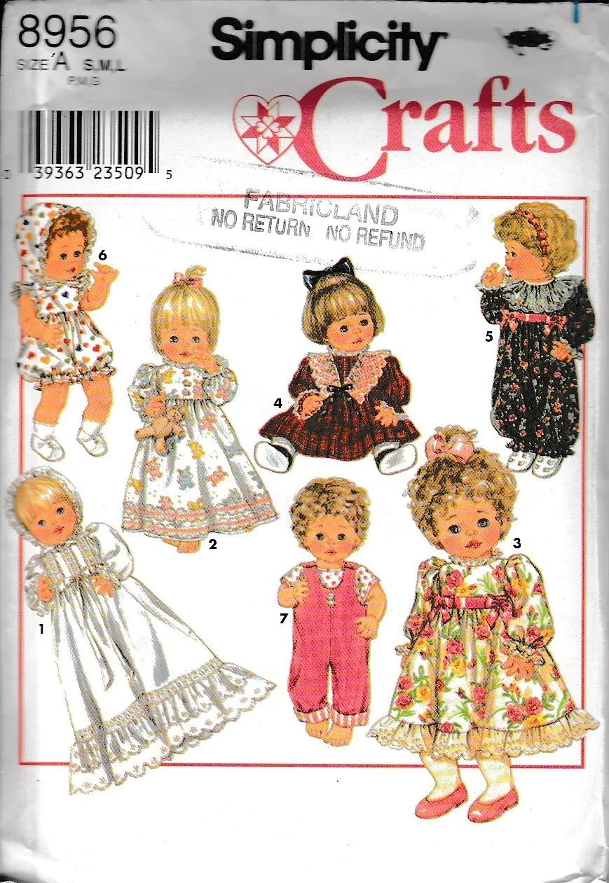 Doll Clothes Sewing Patterns : clothes, sewing, patterns, Simplicity, Crafts, Clothes, Sewing, Pattern , VintageStitching, Vintage, Patterns