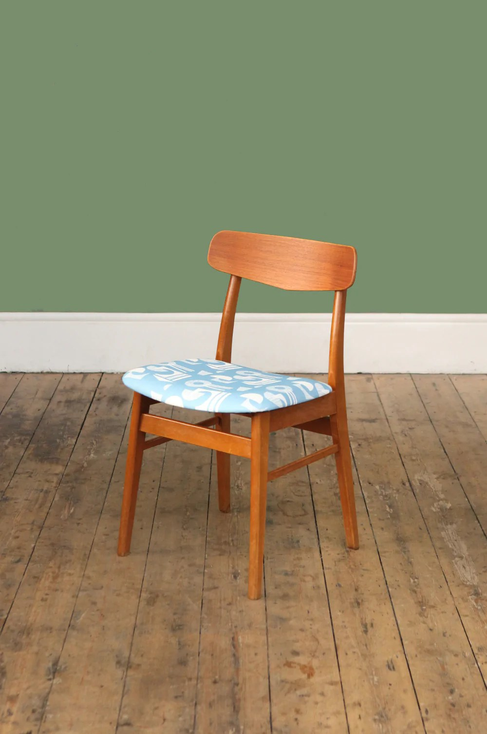 Blue Patterned Chair On Sale Teak Chair With Blue Patterned Seat Forest London