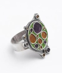 Green & Purple Enamel Ring  Purple Gallery