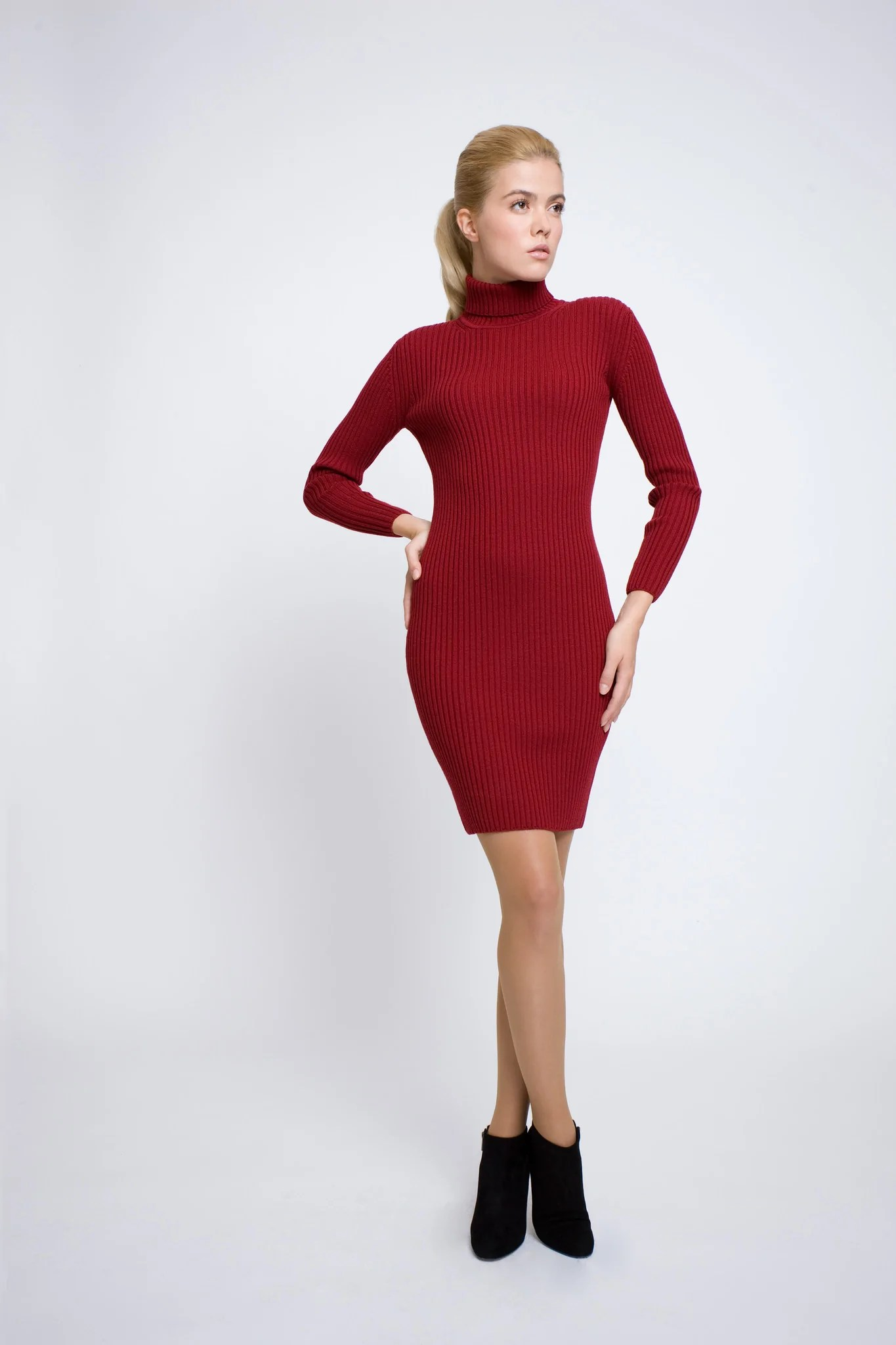Red Ribbed Knit Turtle Neck Dress Rumour London