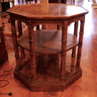 Three Tier Octagonal Leather Top Side Table  Chestnut ...