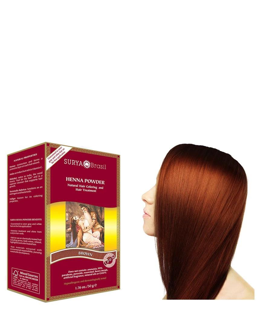 Brown Henna Powder Natural Brown Hair Dye Surya Brasil