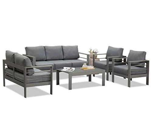 wisteria lane outdoor patio furniture sets aluminum sectional sofa grey metal conversation set with dark grey cushions