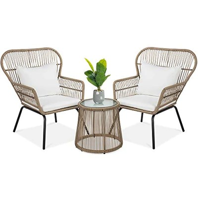 best choice products 3 piece patio wicker conversation bistro set w 2 chairs