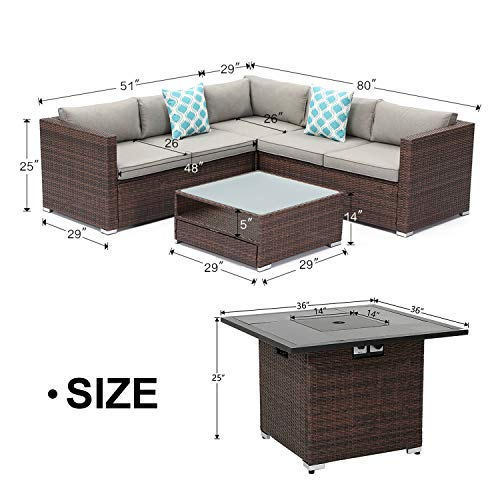 cosiest 4 piece propane fire pit outdoor sectional sofa set brown patio furniture set w 36 inch square fire table 40 000 btu glass wind guard