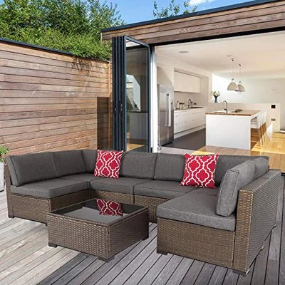 kinsunny 7 piece outdoor patio furniture set wicker sectional sofa with 2 pillows and tea table patio rattan conversation chair sofa set