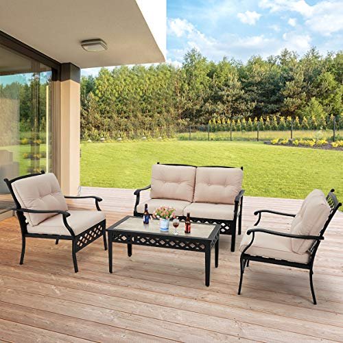 aecojoy 4 piece patio conversation set