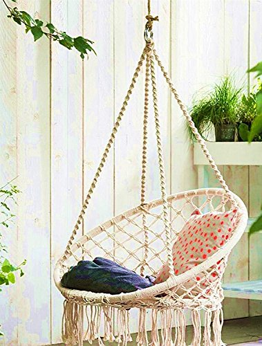 swing chair home town zebra print dining chairs e everking hammock macrame hanging cotton rope indoor