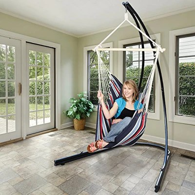 swing hammock chair with stand office mesh back support for hanging chairs swings loungers town